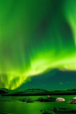 Preview iPhone wallpaper Radiance sky, northern lights, night, green