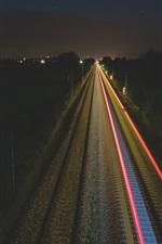 Railway at night, lights