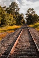 Preview iPhone wallpaper Railway, trees, autumn, sunshine