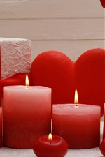 Preview iPhone wallpaper Red candles, flame, gift, roses