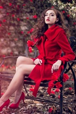 Preview iPhone wallpaper Red coat girl, chair, roses