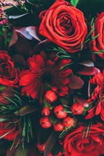 Preview iPhone wallpaper Red flowers, rose, chamomile, bouquet