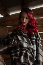 Preview iPhone wallpaper Red hair girl and raccoon