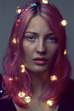 Preview iPhone wallpaper Red hair girl, lights, sadness