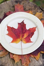 Preview iPhone wallpaper Red maple leaf, plates, knife, fork