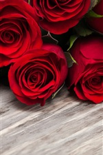 Preview iPhone wallpaper Red roses, love heart, wood board