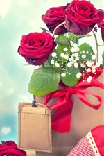 Preview iPhone wallpaper Red roses, paper bag, love hearts