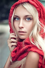 Red scarf, blonde girl