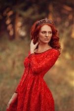 Red skirt girl, forest