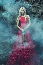 Menina saia vermelha, violino, fumaça, floresta