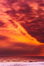 Preview iPhone wallpaper Red sky, clouds, sunset, sea