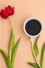 Preview iPhone wallpaper Red tulip, one cup coffee