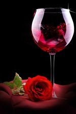 Preview iPhone wallpaper Red wine, rose, romantic