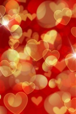 Preview iPhone wallpaper Romantic background, many love hearts, shine