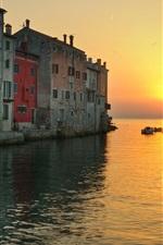 미리보기 iPhone 배경 화면 로비 니, 크로아티아, 도시, 바다, 일몰