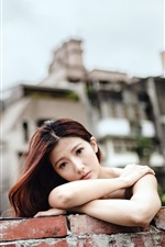 Preview iPhone wallpaper Sadness Asian girl look, wall