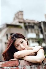 iPhone壁紙のプレビュー 悲しみアジアの女の子の顔、壁