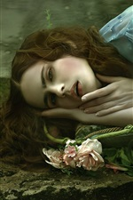 Preview iPhone wallpaper Sadness girl sleep, roses, art photography