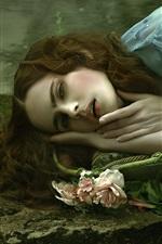 iPhone壁紙のプレビュー 悲しみの女の子の睡眠、バラ、アート写真
