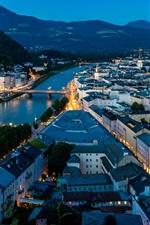 Preview iPhone wallpaper Salzburg, Austria, city night, river, bridge, houses, lights