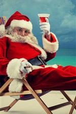 Papai Noel, vinho, mar, praia, feriado