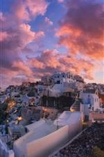 Preview iPhone wallpaper Santorini, Greece, city, dusk, clouds