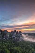 Preview iPhone wallpaper Saxon Switzerland National Park, Bastei, Germany, mountains, trees, sunset