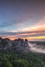 Saxon Switzerland National Park, Bastei, Germany, mountains, trees, sunset