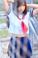 Preview iPhone wallpaper Schoolgirl, fence, Asian girl