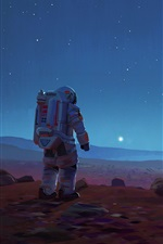 Preview iPhone wallpaper Sci-Fi picture, spaceships, astronaut, stars, space