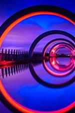 Preview iPhone wallpaper Scotland, Falkirk Wheel, water, night, lights