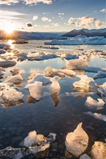 Preview iPhone wallpaper Sea, ice, sunrise, morning