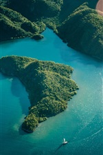 Preview iPhone wallpaper Sea, islands, forest, boat, top view
