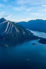 Sea, islands, mountains, clouds, morning