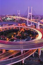 iPhone fondos de pantalla Shanghai, puente, Huangpu, río, caminos, luces, noche