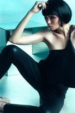 Preview iPhone wallpaper Short hair Asian girl, black dress, pose, art photography