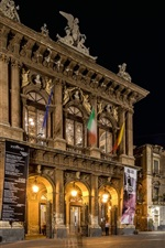 Preview iPhone wallpaper Sicily, Catania, Italy, city street, Opera, night, lights