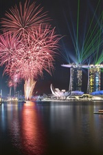 Preview iPhone wallpaper Singapore, fireworks, night, city, boats, lights, sea