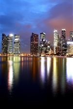 Preview iPhone wallpaper Singapore, skyscrapers, bay, water reflection, night, lights