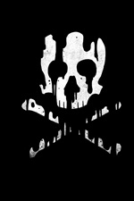 Preview iPhone wallpaper Skull, bones, black background