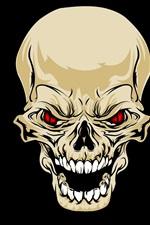 Crânio, dentes, olhos vermelhos, fundo preto