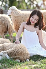 Preview iPhone wallpaper Smile Asian girl and sheep