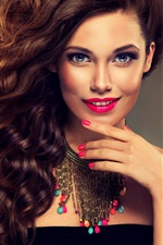 Preview iPhone wallpaper Smile fashion girl, curly hair, makeup