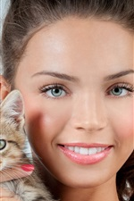 Preview iPhone wallpaper Smile girl and kitten
