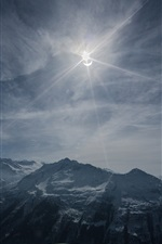 Preview iPhone wallpaper Solar Eclipse, mountains, sky, clouds