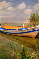 Preview iPhone wallpaper Spain, Albufera Natural Park, boat, grass