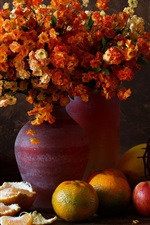 Preview iPhone wallpaper Still life, oranges, pears, flowers