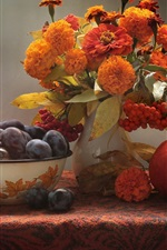 Preview iPhone wallpaper Still life, pumpkin, zinnia, marigolds, plum, berries