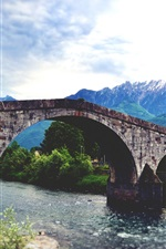 Preview iPhone wallpaper Stone bridge, river, mountains, trees