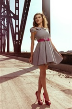 Preview iPhone wallpaper Summer, short skirt girl, bridge
